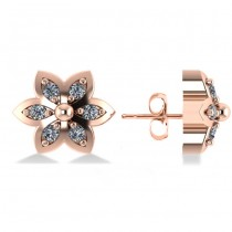 Diamond Accented Flower Stud Earrings 14k Rose Gold (0.12ct)