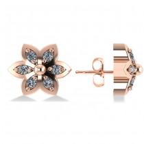 Diamond Accented Flower Stud Earrings 14k Rose Gold (0.12ct)