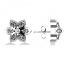 Diamond Accented Flower Stud Earrings 14k White Gold (0.12ct)