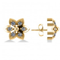 Diamond Accented Flower Stud Earrings 14k Yellow Gold (0.12ct)