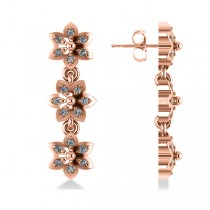Diamond Triple Flower Dangle Earrings 14k Rose Gold (0.36ct)