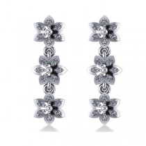 Diamond Triple Flower Dangle Earrings 14k White Gold (0.36ct)