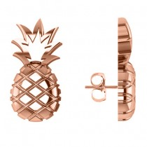 Pineapple Fashion Stud Earrings 14k Rose Gold