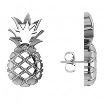 Pineapple Fashion Stud Earrings 14k White Gold