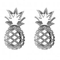 Pineapple Fashion Stud Earrings 14k White Gold|escape