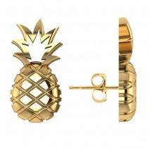 Pineapple Fashion Stud Earrings 14k Yellow Gold