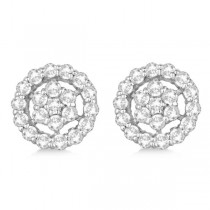 Diamond Cluster Earrings with Halo, Pave Set 14k White Gold 1.50ct|escape