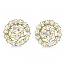 Diamond Cluster Earrings with Halo, Pave Set 14k Yellow Gold 1.50ct