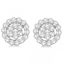 Diamond Cluster Earrings with Halo, Pave Set 14k White Gold 2.01ct|escape