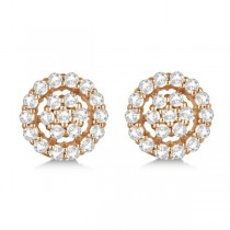 Diamond Cluster Earrings with Halo, Pave Set 14k Rose Gold 0.61ct|escape