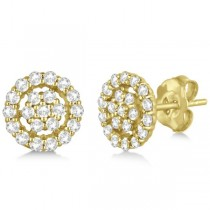 Diamond Cluster Earrings with Halo, Pave Set 14k Yellow Gold 0.61ct