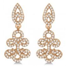 Fleur De Lis Diamond Drop Earrings Pave Set 14k Rose Gold 0.80ct