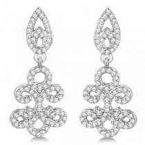 Fleur De Lis Diamond Drop Earrings Pave Set 14k White Gold 0.80ct