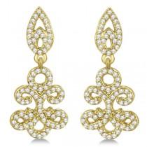 Fleur De Lis Diamond Drop Earrings Pave Set 14k Yellow Gold 0.80ct