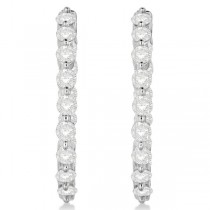 Inside Out Diamond Hoop Earrings Prong Set in 14k White Gold 2.00ct