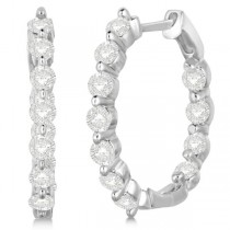 Inside Out Diamond Hoop Earrings Prong Set in 14k White Gold 1.34ct
