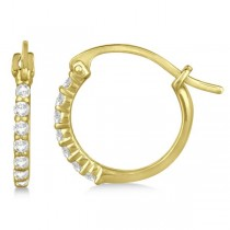 Genuine Diamond Petite Hoop Earrings Pave Set 14k Yellow Gold 0.15ct