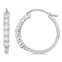 Genuine Diamond Hoop Earrings Pave Set in 14k White Gold 1.00ct