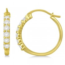 Genuine Diamond Hoop Earrings Pave Set in 14k Yellow Gold 1.00ct