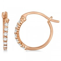 Genuine Diamond Hoop Earrings Pave Set in 14k Rose Gold 0.25ct