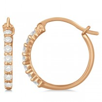 Genuine Diamond Hoop Earrings Pave Set in 14k Rose Gold 0.33ct