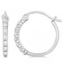 Genuine Diamond Hoop Earrings Pave Set in 14k White Gold 0.33ct