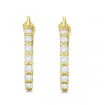 Genuine Diamond Hoop Earrings Pave Set in 14k Yellow Gold 0.33ct