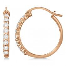 Genuine Diamond Hoop Earrings in Pave Set 14k Rose Gold 0.50ct