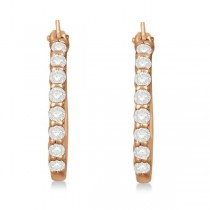 Genuine Diamond Hoop Earrings in Pave Set 14k Rose Gold 0.50ct|escape