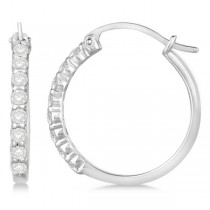 Genuine Diamond Hoop Earrings Pave Set in 14k White Gold 0.50ct