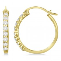 Genuine Diamond Hoop Earrings Pave Set in 14k Yellow Gold 0.50ct