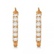 Genuine Diamond Hoop Earrings Pave Set in 14k Rose Gold 0.75ct