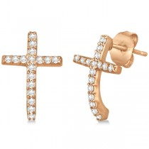 Pave Set Diamond Cross Post Earrings 14k Rose Gold 0.33 carats