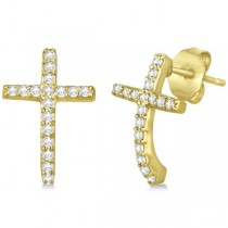Pave Set Diamond Cross Post Earrings 14k Yellow Gold 0.33 carats