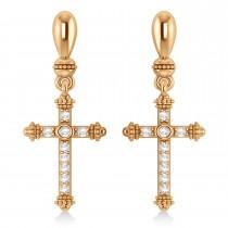 Diamond Cross Drop Earrings 14k Rose Gold (0.25ctw)