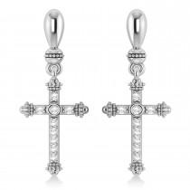 Diamond Cross Drop Earrings 14k White Gold (0.25ctw)