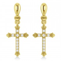 Diamond Cross Drop Earrings 14k Yellow Gold (0.25ctw)