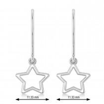 Galaxy Star Dangle Earrings 14k White Gold