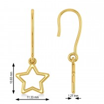 Galaxy Star Dangle Earrings 14k Yellow Gold