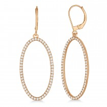 Leverback Diamond Hoop Earrings 14k Rose Gold (1.08ct)