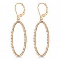 Leverback Diamond Hoop Earrings 14k Rose Gold (1.08ct)