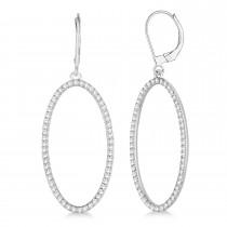 Leverback Diamond Hoop Earrings 14k White Gold (1.08ct)