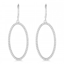 Leverback Diamond Hoop Earrings 14k White Gold (1.08ct)|escape