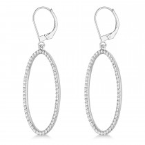 Leverback Diamond Hoop Earrings 14k White Gold (1.08ct)