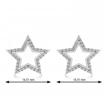 Galaxy Star Diamond Accented Stud Earrings 14k White Gold (0.35ct)