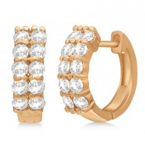 Double Row Diamond Huggie Earrings 14k Rose Gold (1.00ct)
