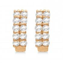 Double Row Diamond Huggie Earrings 14k Rose Gold (1.00ct)