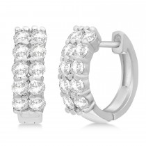 Double Row Diamond Huggie Earrings 14k White Gold (1.00ct)