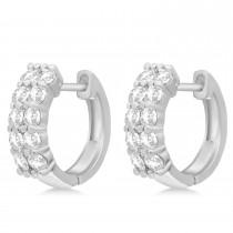 Double Row Diamond Huggie Earrings 14k White Gold (1.00ct)
