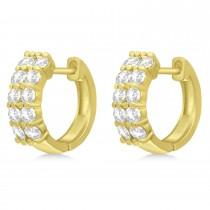 Double Row Diamond Huggie Earrings 14k Yellow Gold (1.00ct)